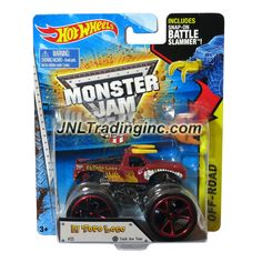 """Hot Wheels Year 2014 Monster Jam 1:64 Scale Die Cast Truck OFF-ROAD Series - Red EL TORO LOCO (CFT61) with Track Ace Tires and Snap-On Battle Slammer (Dimension : 3-1/2"""" L x 2-1/4"""" W x 2-1/2"""" H)"""