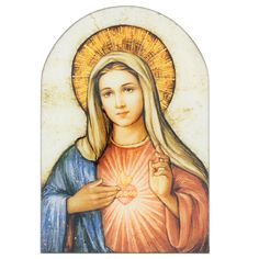 Sacred Traditions The Immaculate Heart of Mary Icon 7 Inch Wood Arched Plaque Blessed Mother Mary, Divine Mother, Blessed Virgin Mary, Religious Images, Religious Icons, Religious Art, Mother Mary Tattoos, Jesus E Maria, Wood Arch