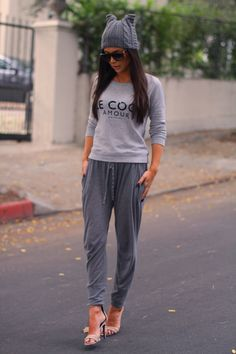 Stylish sweats and heels! Get the look with the Jenn Jersey Knit Pants from Ava Adorn.