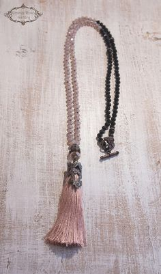Tassel Necklace, Boho Chic Necklace, Pink - Black Necklace, Statement Necklace, Christmas Gift, Bridesmaid gift A gorgeous hand knotted long Tassel Necklace . Features antique rhinestones , pink opalescent crystal beads , black crystal beads , silk tassel with bronze details and