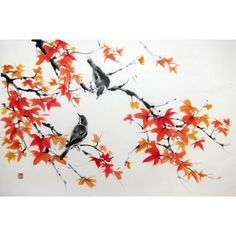 Japanese Ink Painting Suibokuga Sumi-e Asian art Japanese art Rice paper painting - Birds on Maple branches - pinned by pin4etsy.com