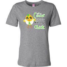 """Cancer Picked The Wrong Chick"" Women's Fashion T-Shirts for Non-Hodgkins Lymphoma awareness featuring a cute chick sporting her awareness ribbon #NonHodgkinsLymphomaAwareness"