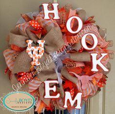 University of Texas UT Longhorns Hookem Deco Mesh Wreath by Jennifer Boyd Designs.  facebook.com/JenniferBoydDesigns JenniferBoydDesigns.etsy.com