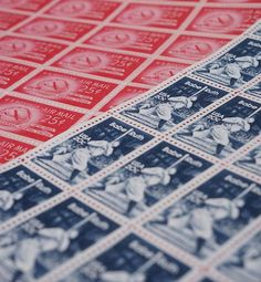 Unused Vintage Blue & Red Postage Stamps by tineandthread on Etsy