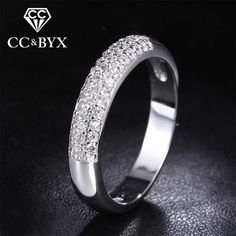 New fashion white gold color round rings for women beautiful engagement jewelry with shine zirconia CCR037