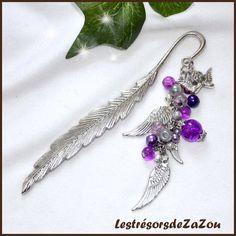 Marque page plume en perles de verre et breloque argenté - Anges - Violet : Marque-pages par lestresorsdezazou