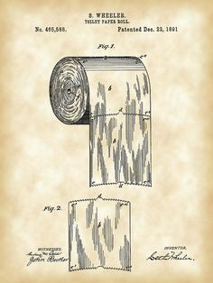 Toilet Paper Roll Patent 1891 - Vintage Digital Art Print by Stephen Younts on Fine Art America