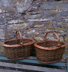 Buff willow & brown shopper basket by John Cowan Baskets
