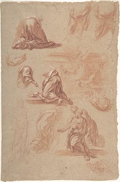 Figural Studies Marco Benefial (Italian, Rome 1684–1764 Rome) Date: 1684–1764 Medium: Red chalk, brush and red wash. highlighted with white...