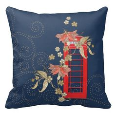 An iconic British phone box, a sprig of Asian inspired flowers...    #Red #Phone #Pillow #British #England