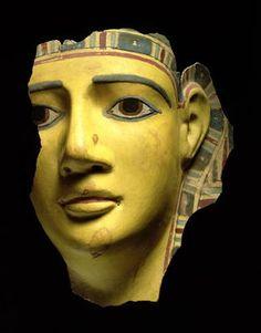 MUMMY MASK (POLYCHROME CARTONNAGE) - PTOLEMAIC PERIOD EGYPTIAN