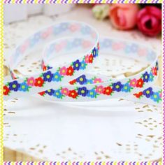 1 Inch grosgrain printed ribbon HAIR BOW SUPPLY Wholesale Frog in flowers