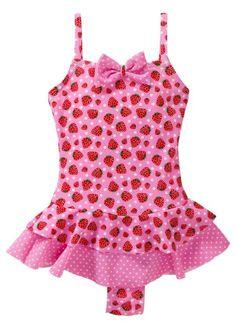 Verspielter Badeanzug mit Volants - rosa Erdbeere