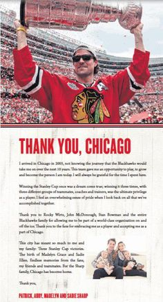 Patrick Sharp Says Thank You - 1