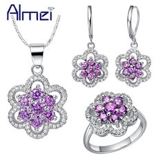 Find More Jewelry Sets Information about Almei Jewelry Sets Ring Necklace Silver Earrings for Women Wedding Purple Ring Bridal CZ Diamond Brinco Para Noiva Anel Set T490,High Quality earring male,China earrings wing Suppliers, Cheap earrings tribal from Almei Jewelry Store on Aliexpress.com