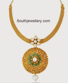 Gold Mesh Chain with Beautiful Pendant - Indian Jewellery Designs Pendant Jewelry, Gold Jewelry, Pendant Set, Gold Pendant, Diamond Jhumkas, Gold Necklace Simple, Minimal Jewelry, Latest Jewellery, Fashion Jewelry