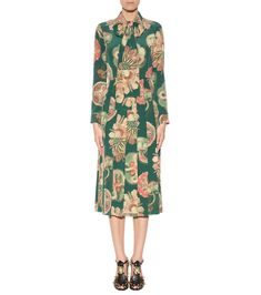 mytheresa.com - Printed crêpe silk midi dress - The runway edit - Inspiration - Luxury Fashion for Women / Designer clothing, shoes, bags