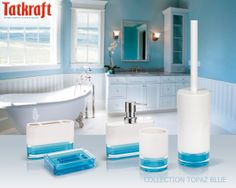 collection topaz blue from tatkraft acrylic bathroom accessories wwwtatkraftee - Blue Bathroom Accessories Uk