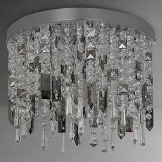 Buy John Lewis Ginevra LED Semi Flush Ceiling Light, Silver/Clear Online at johnlewis.com