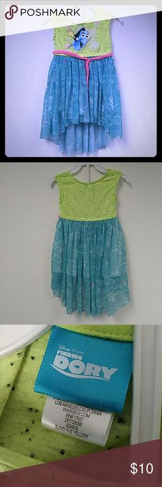 Finding Dory Baby Girl Dress In excellent Condition. Top is a neon green color and bottom is aqua blue with bubble pattern. Disney Dresses Casual