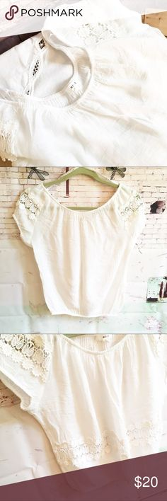 """MINE Short White Peasanty Top, Size Medium MINE CROPPED BOHO TOP, size Medium 60% Rayon, 40% poly and lace is 100% cotton.  Dry clean 18"""" bust 17"""" long. NEVER WORN MINE Tops"""