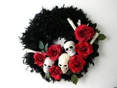 Skulls n Roses the halloween wreath- AND free shipping. $70.00, via Etsy.