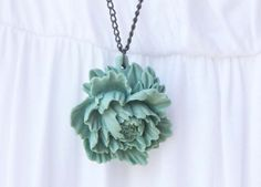 Aqua Green Peony Flower resin Pendant on by vintagebyrachel, $19.00