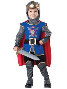 #60008 Includes: - Faux chainmail jumpsuit with attached tunic - Belt - Gauntlets - Boot covers with gold trim accents - Detachable satin cape - Hood with attached gold crown (Toy sword not included)