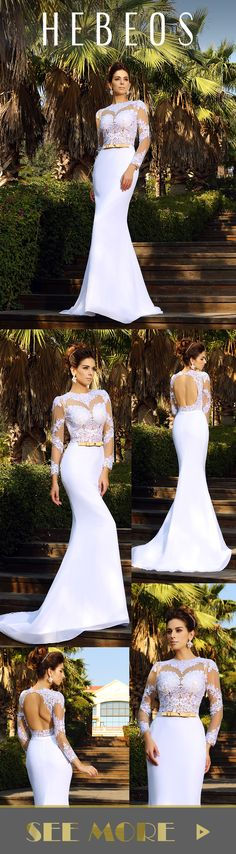 Romantic wedding dress idea - sexy open back wedding dress with full lace details and sleeves - dress by Hebeos. SKU: 50053