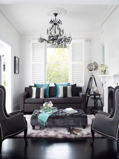 Black And White Living Room With Teal house of turquoise: lulu designs | lovely living rooms | pinterest