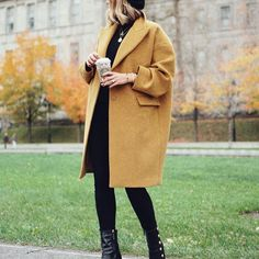 yellow cocoon oversized winter coat