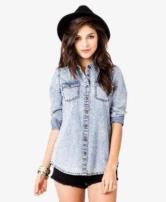 ¥190 Dotted Grid Denim Shirt   FOREVER21 - 2038589115