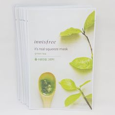 Innisfree It's Real Squeeze Facial Masks Green Tea 20ml 3/8/16/35 Sheets Lot #Innisfree