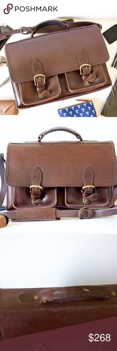 """Custom Made Genuine Leather Laptop Briefcase Vintage style briefcase w/ old-school style & sleek utilitarian toughness. Effortlessly holds all workday essentials.  11.5"""" H x 16"""" L x 5"""" W 2 Compartments ( Front 2"""" W; Rear 3"""" W) Padding for laptop protection Water-resist, heavy-duty leather Outer pocket w/ zip Brass hardware Adjustable/Detachable 54"""" strap. Push-lock closure Inner pockets: zip, card, phone, & pens.  Loved, still in great condition! Some scratches, adds to vintage…"""