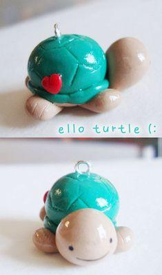 turquoise turtle polymer clay charm - cute kawaii polymer phone charm pendant - jimmy the turtle