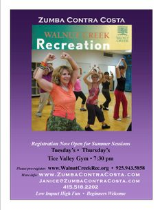 New classes begin 6/3 & 6/5 (T/Th) 7:30 pm Tice gym. Reg: Janice@ZumbaContraCosta.com