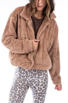 TEDDY BOMBER JACKET Camel | Reversible Brown Leopard – Ragdoll LA