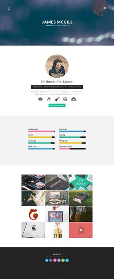 Clean one page portfolio with AJAX loading portfolio items for Philadelphia based designer, James McGill.