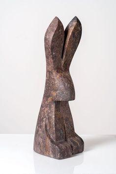 wooden sculpture The Curious Rabbit Wonderstone (Utah) W x L x H Jason Carter, 2018 SOLD Wood Carving Patterns, Wood Carving Art, Wood Art, Stone Sculpture, Sculpture Art, Abstract Sculpture, Soapstone Carving, Utah, Wooden Statues