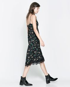 Image 2 of PRINTED DRESS WITH LACE TRIM from Zara