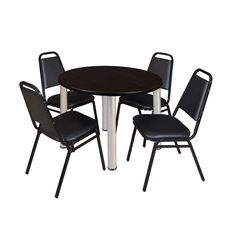 Regency Seating Kee 42-inch Round Chrome Breakroom Table with 4 Black Restaurant Stack Chairs