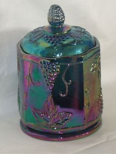 I LOVE this Blue Carnival Glass Canister                   .