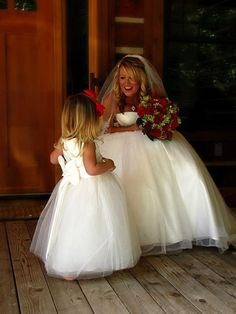 Beautiful Bride and flower Girl