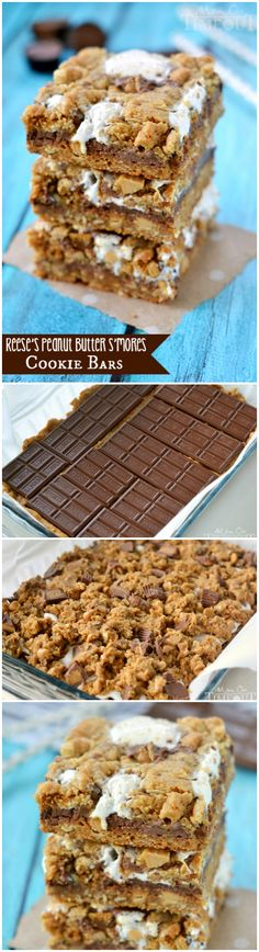 Reese's Peanut Butter S'mores Oatmeal Cookie Bars - total indulgence in each bite! | MomOnTimeout.com | #recipe #chocolate #dessert