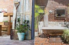 Una casa con estilo vintage moderno  La bañadera antigua de fundición (Mercado Libre) hace las veces de pileta para refrescarse en los días tórridos de verano Foto:Javier Picerno