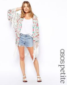 ASOS PETITE Exclusive Printed Kimono with Fringing UK/8 EU/36 RRP £45.00