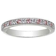 18K White Gold Pavé Milgrain diamond and pink sapphire wedding ring, at Brilliant Earth (ethically sourced gold & gems)
