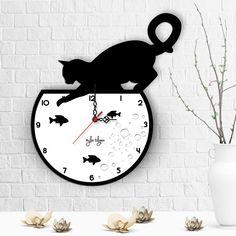 Kişiye Özel Kedi Tasarımlı Ahşap Duvar Saati - 2