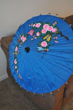 Hand painted Thailand Blue Silk Parasol, Umbrella Butterfly Design by NotJustOldVintage on Etsy https://www.etsy.com/listing/215861221/hand-painted-thailand-blue-silk-parasol