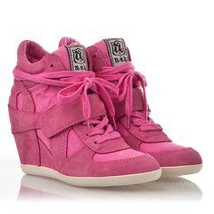 Womens Bowie Wedge Sneaker Pink  Suede 330008